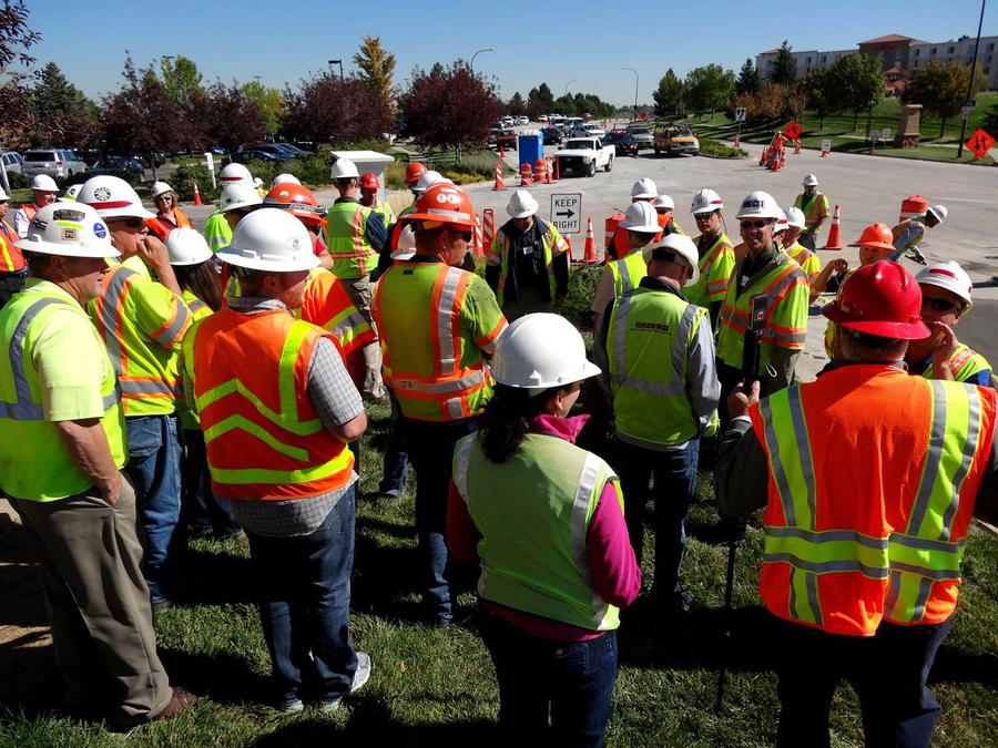 A crowd gathers for an open house tour of the Highlands Ranch concrete preservation project. (Photo: Courtesy of International Grooving and Grinding Association/Douglas County (Colorado) Department of Public Works Engineering)