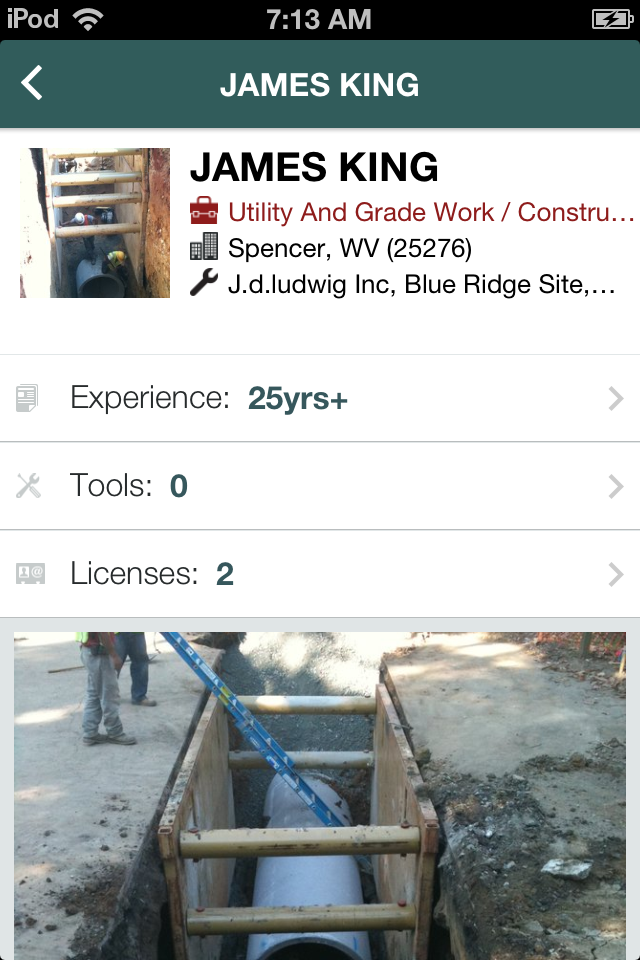 WorkHands iPhone app profile page