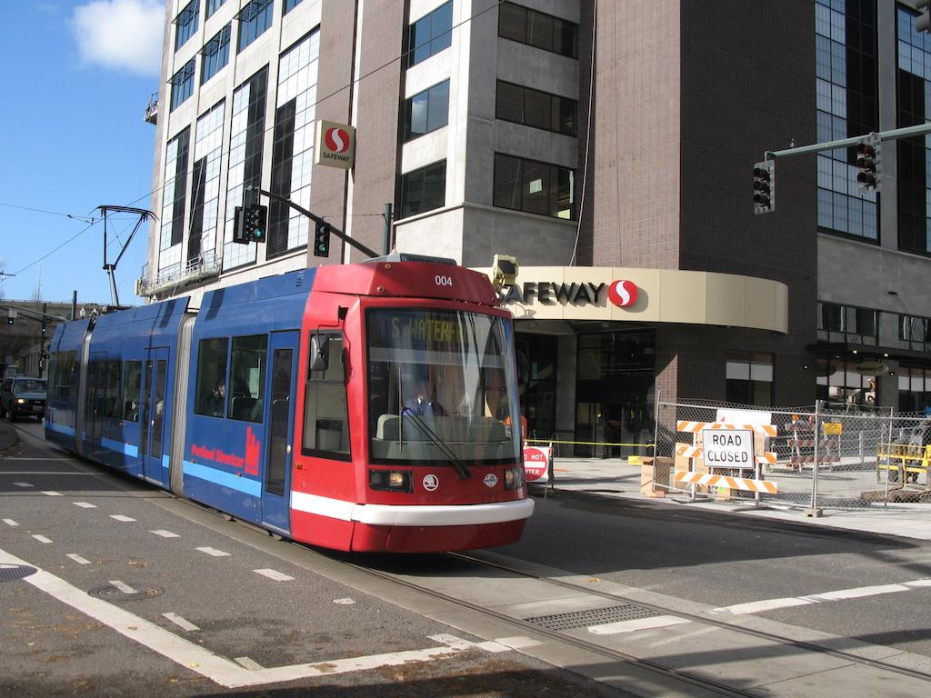 A modern streetcar in Cincinnati