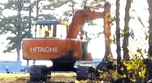 The excavator stolen from the Confederate flag memorial site near Chesterfield, Virginia.