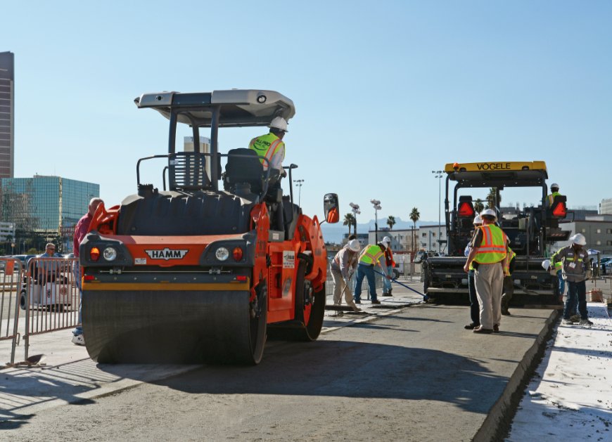 A parking lot demonstration of RCC went on for four afternoons and and included test strip placement, curing, saw cutting and testing at World of Concrete 2013.