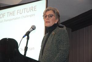 Sen. Barbara Boxer (D-Calif.), chairman of the Senate Environmental & Public Works Committee, was among the speakers at the Infrastructure for the Future conference put on by American Highway Users and the Volvo Group in Washington, D.C. Credit: Max Heine