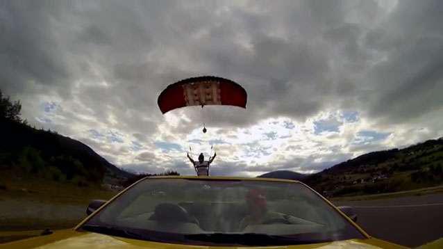 skydive into car