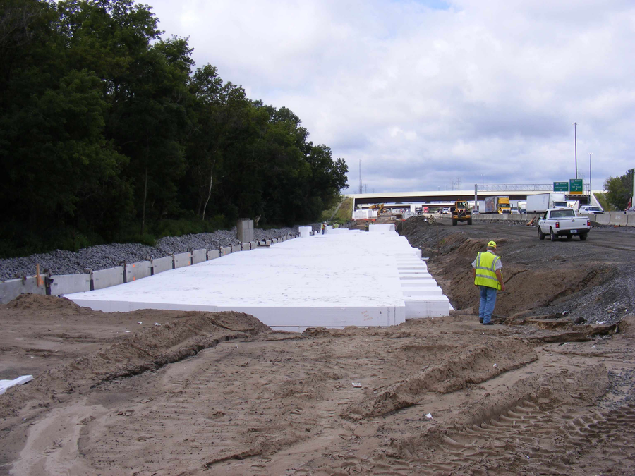 EPS geofoam was used to remediate soft soils at the I-80 / I-65 interchange in Gary, Indiana. (Photo courtesy of Insulufoam)