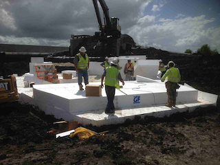 This service road bridge relies on EPS geofoam to reduce loads on poor load bearing soils near New Orleans. (Photo courtesy of Insulufoam)