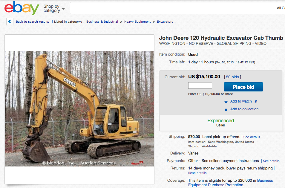 A look at an eBay auction page featuring a John Deere excavator from Bidadoo.
