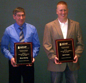 Brierly, left, and Presser, right, were awarded AEMP's 2013 National Technicians of the Year.