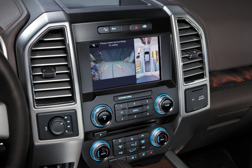 The 2015 F-150 features a new 8-inch touchscreen infotainment system.