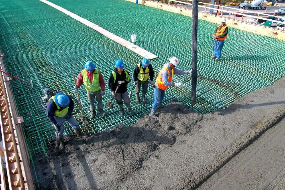 The company takes on a variety of concrete work, including this bridge deck pour.