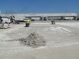 After the sawcutting is complete, the hardened slurry is swept into pile, and is ready for removal.