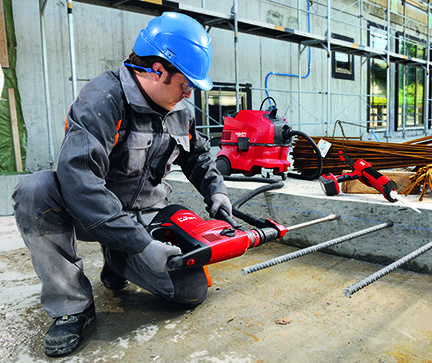 Dust-free concrete hole drilling eliminates the tedious task of having to brush and blow to clean out the hole.