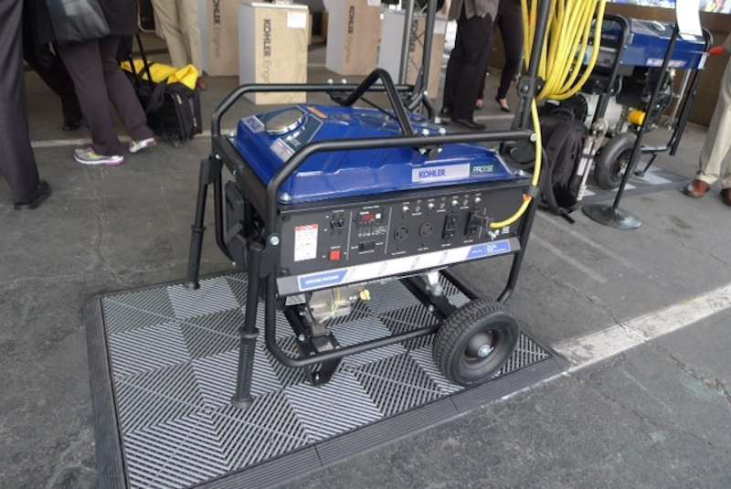 Kohler's larger portable generators can be configured with a number of different and interchangeable frame and transport options, including a lift kit, handles and an extension cord hook.