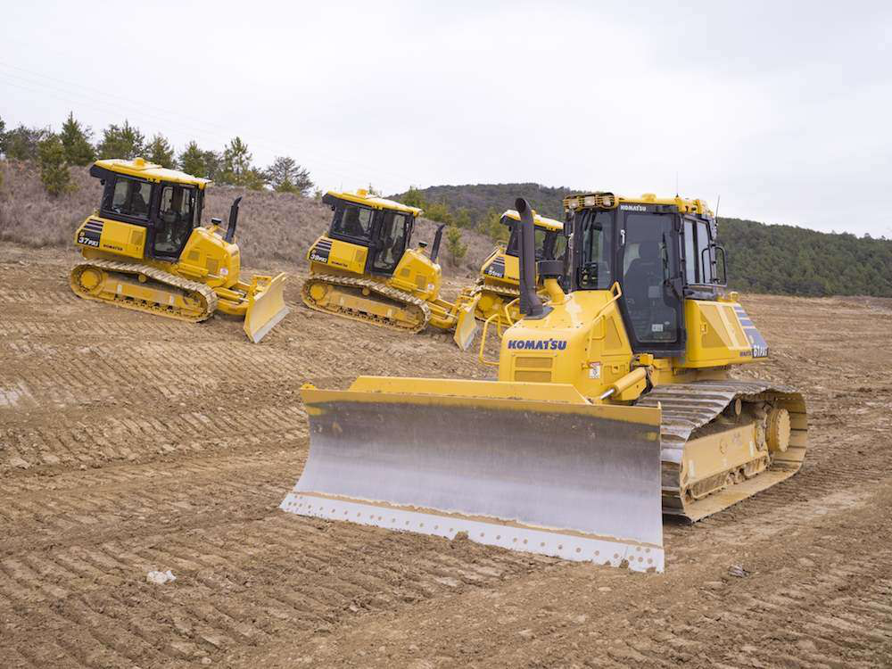 All in the family: Komatsu's D61PXi-23 is backed by its three smaller intelligent Machine Control siblings: the D37PXi, D39PXi and D51PXi.