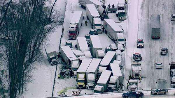 Extreme winter weather causes massive semi, vehicle pileup