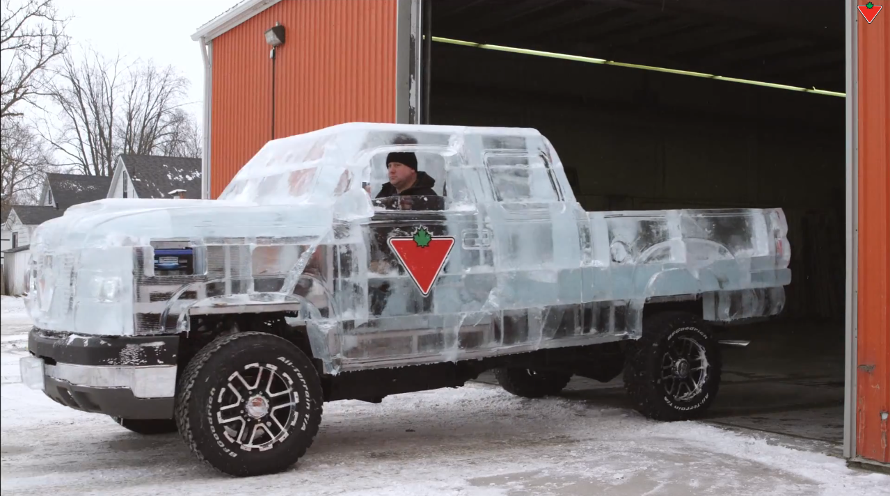 video this chevrolet silverado is completely made of ice watch it drive and melt. Black Bedroom Furniture Sets. Home Design Ideas