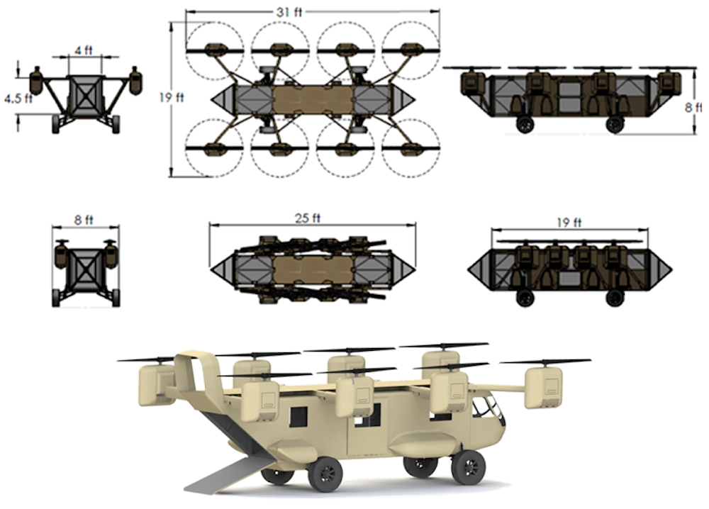 Concept that illustrates the Black Knight's vehicle modes. When in off-road use, the engines retract.
