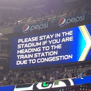 "After the Super Bowl ended, train passengers were asked to remain in the stadium ""due to congestion."" (Photo credit: @aemaltheafghan via Instagram)"