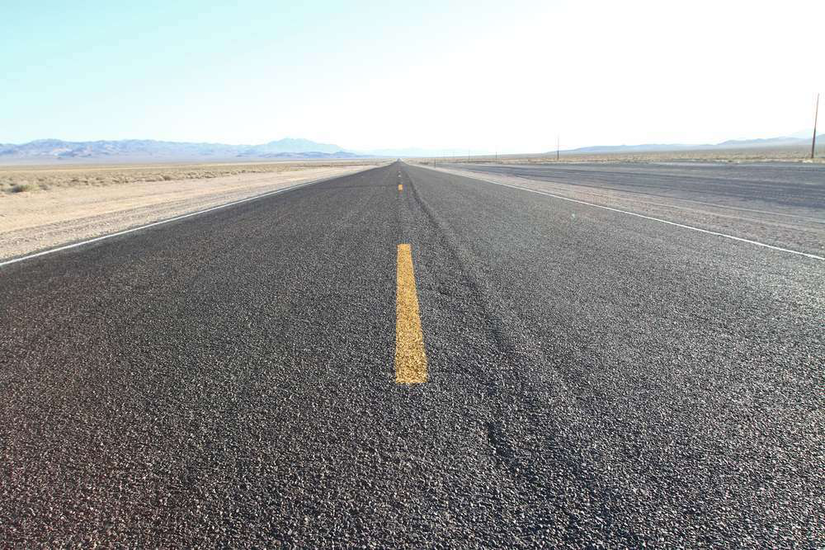 Highway with yellow stripe