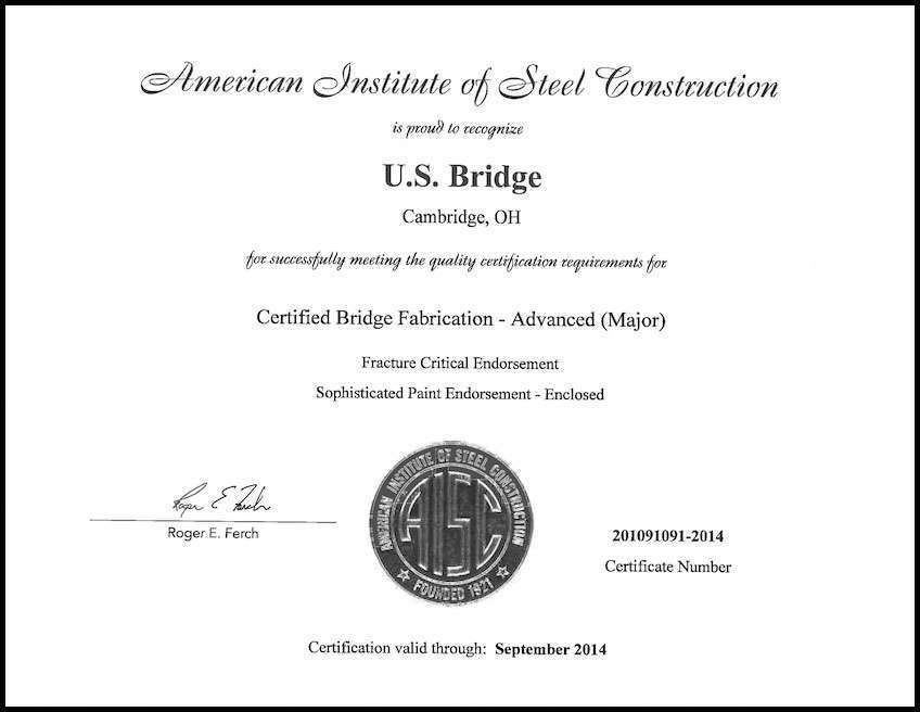 Us Bridge Certification Upgraded By Aisc