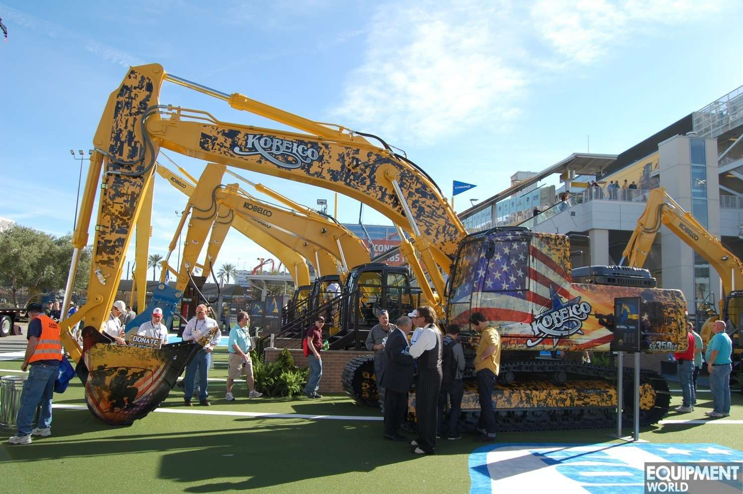 Kobelco's ConExpo centerpiece was a SK350 excavator with a patriotic paint job honoring American soldiers.