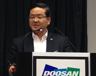 Dongyoun Sohn, president and chief technology officer for Doosan Infracore Engine Group, talks about the company's latest engine launches at a March 5 press conference at  ConExpo-Con/Agg 2014 in Las Vegas.