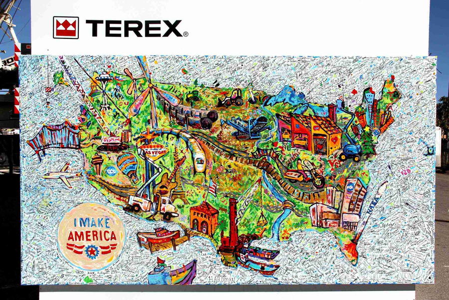"Terex donated this painting to AEM's ""I Make America"" campaign. The art was created by the fingerprints and signatures of ConExpo-Con/Agg 2014 attendees. (Photo courtesy of Terex)"