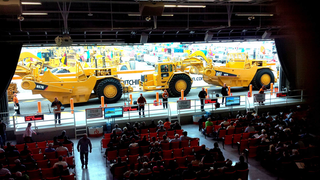 During the first day of the Ritchie Bros. auction in Las Vegas, a selection of motor graders sold on the ramp for $565,000 a piece. (Photo courtesy of Ritchie Bros. Auctioneers)