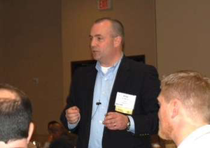 Mike Bennett, VP of health, safety, environmental and human resources for Cianbro, speaks at the 2014 AEMP annual conference.