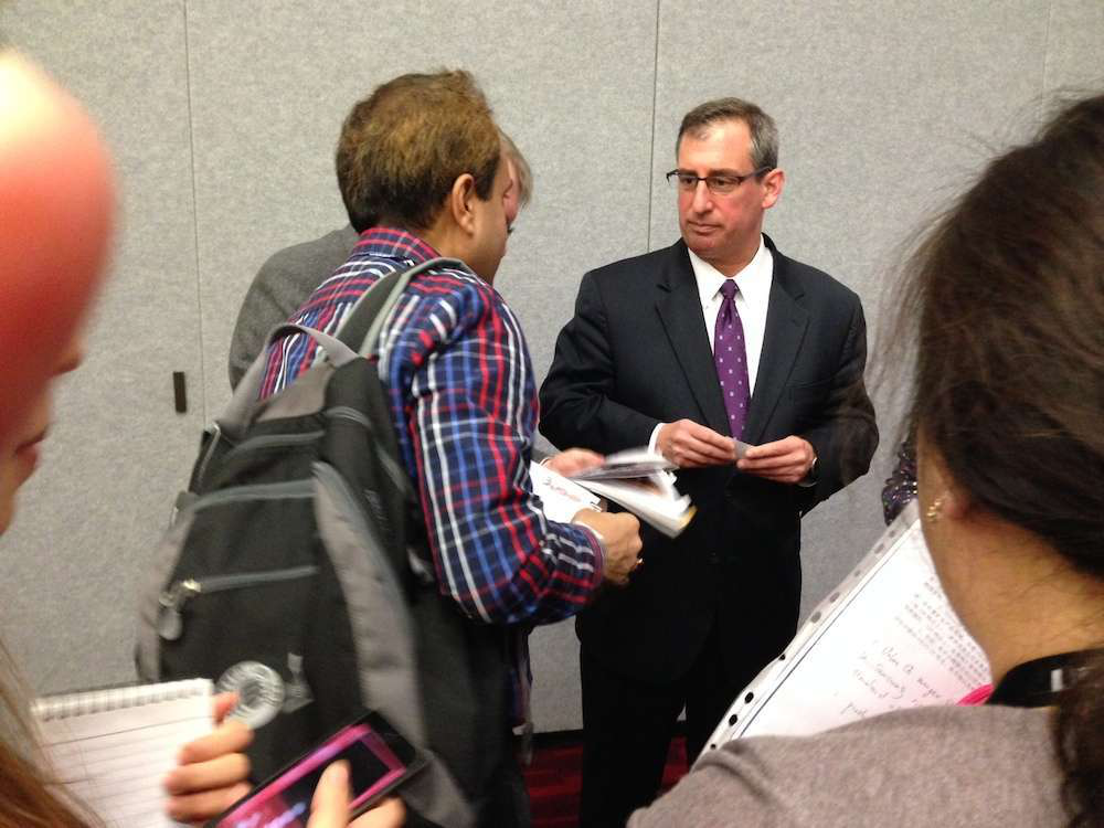 New Volvo CE president Martin Weissburg meets with the press at ConExpo 2014.