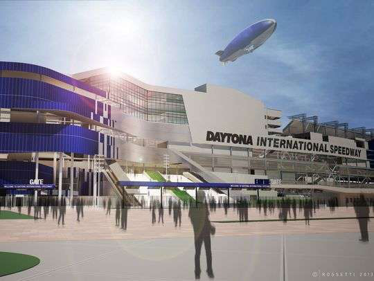 A rendering of the $400 million grandstand renovations underway at Daytona International Speedway.