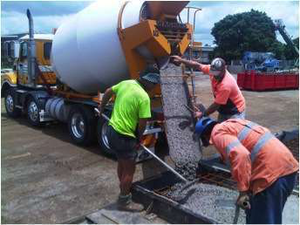 Wagners Earth Friendly Concrete being poured.