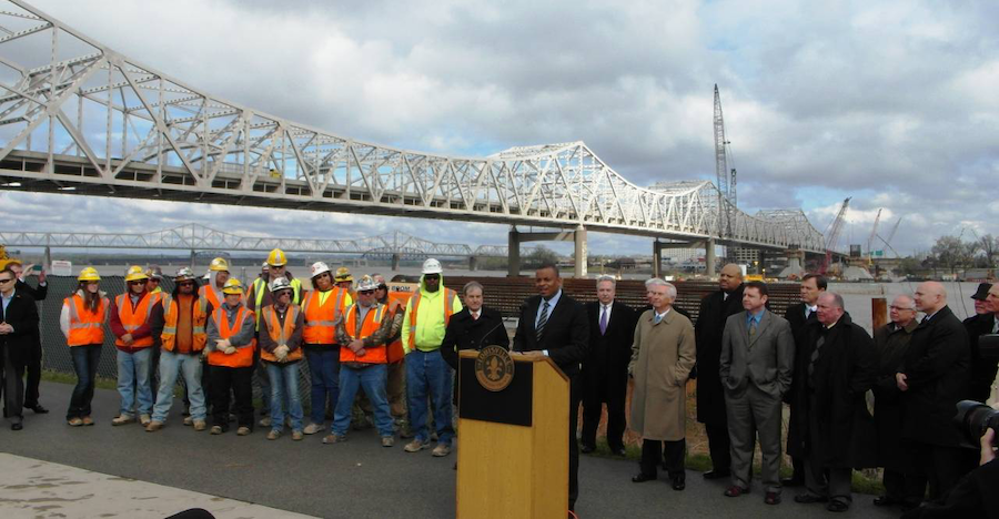 """Foxx visits the Ohio River Bridges project during his """"Invest in America, Commit to the Future"""" bus tour. (Photo Credit: U.S. DOT)"""
