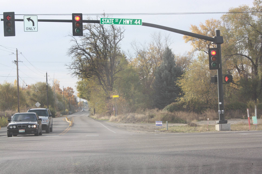 Traffic crosses the improved intersection of Idaho 44/Linder Road. (Photo courtesy of ITD)