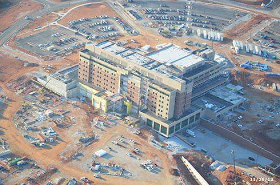 An arial view of construction at Mercy Hospital in Joplin. The $335 million hospital is scheduled to open in 2015 and replaces St. John's Hospital which was destroyed by an EF-5 tornado in 2011.