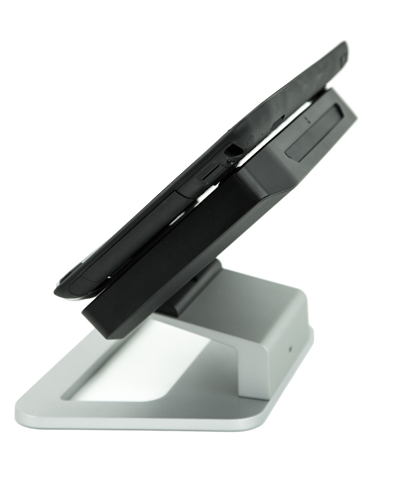 The R12 has a thin and light design that can be quickly docked into a desktop mount for office use.