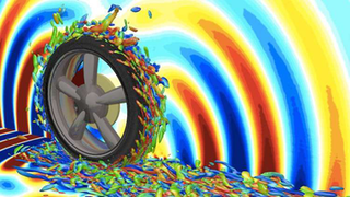 This 3D simulation shows the airflow field around the tire and the resulting sounds it creates as it travels over the road.