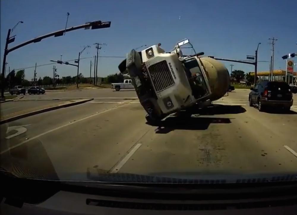 cement truck head-on dash cam