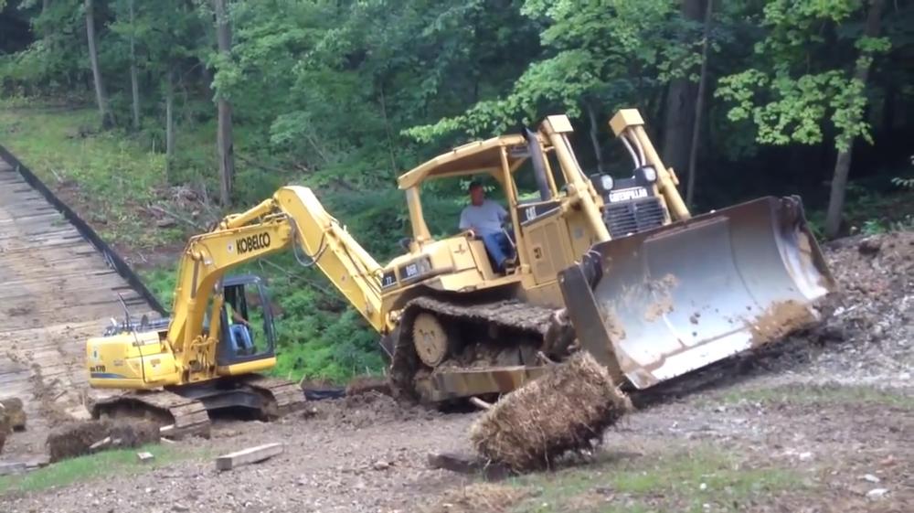 dozer excavator steep slippery slope