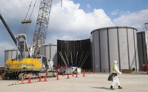 Construction on welded tanks at the Fukushima plant in Japan. Credit: AFP