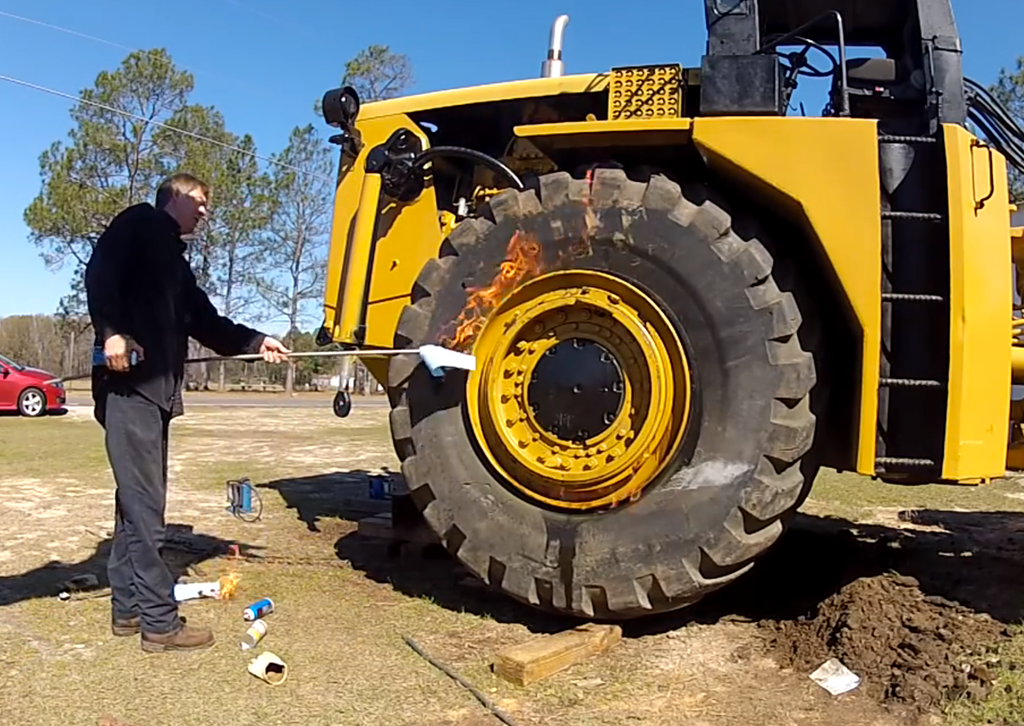 Mounting tires with ether explosion