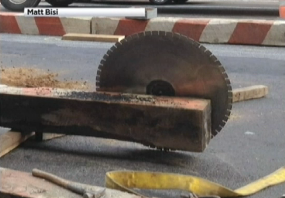 The circular saw blade that hit a woman in New York City after it came to a rest. Credit: Matt Bisi via NBC New York