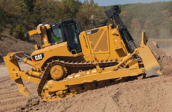 Auto-Carry on Cat's D8T maintains a full blade, and Auto-Rip adjusts ripper shank depth, both controlled by sensors that detect load and measure track slip.