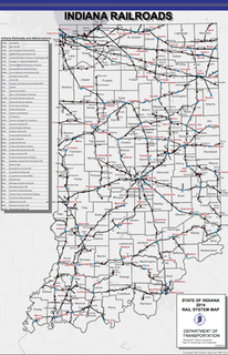 This map shows the rail system in the state of Indiana in 2014. Click image to view larger version. (Photo credit: Indiana Department of Transportation)