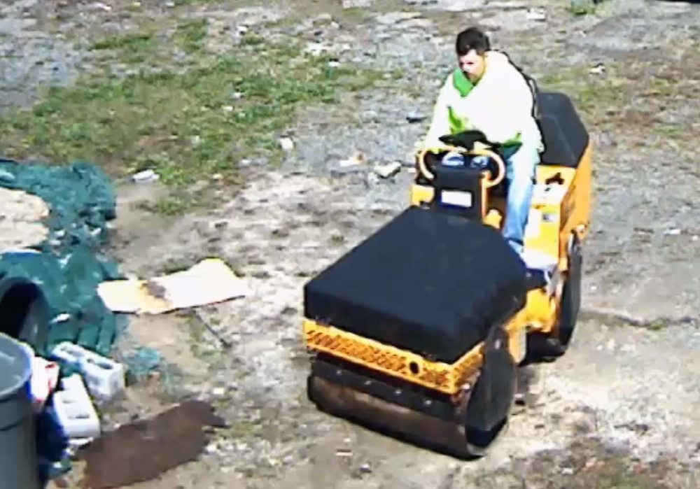 Thief steals roller-compactor