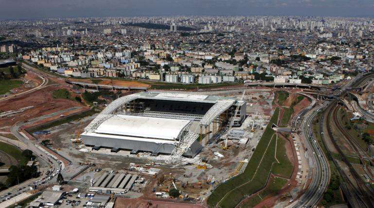 An overhead view of Arena Sao Paulo in Sao Paulo, Brazil, one of the stadiums being used for the World Cup.