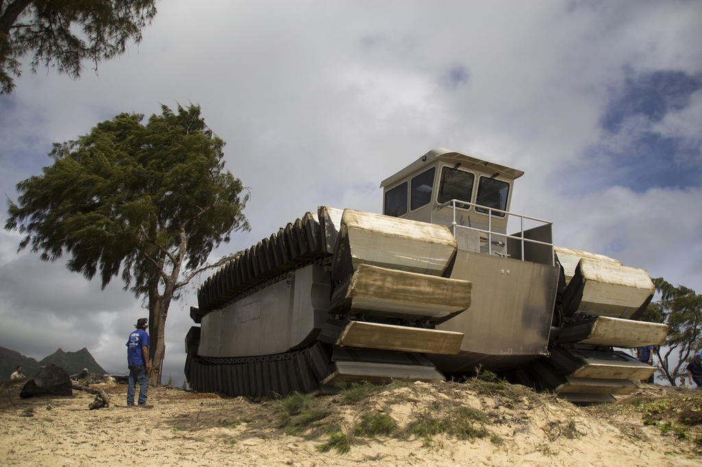 Even at half-scale, the new UHAC vehicle is massive. Credit: Cpl. Matthew J. Bragg/USMC