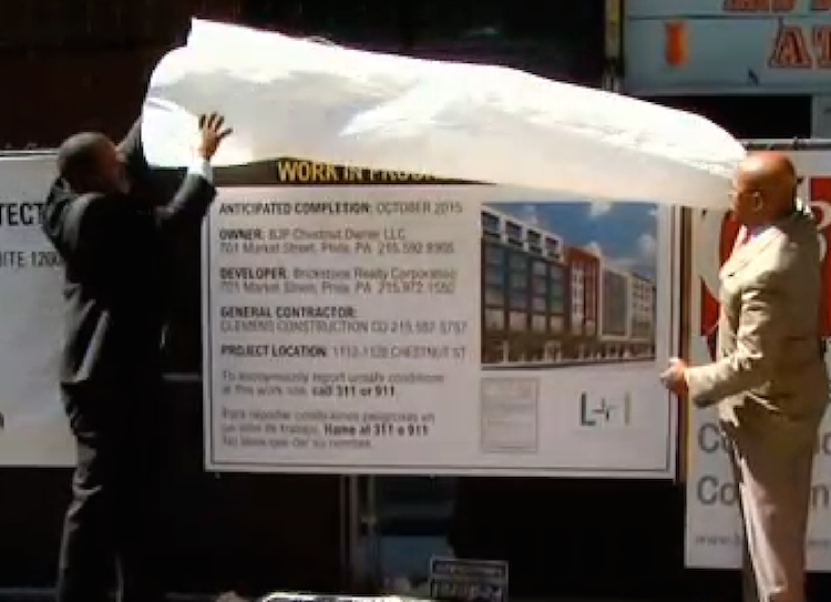 Philadelphia city officials unveil the new required signage for construction and demolition projects. Credit: CBS Philadelphia
