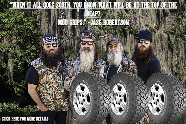 The first promo for the Duck Commander tires. Credit: Harris Tire Co.