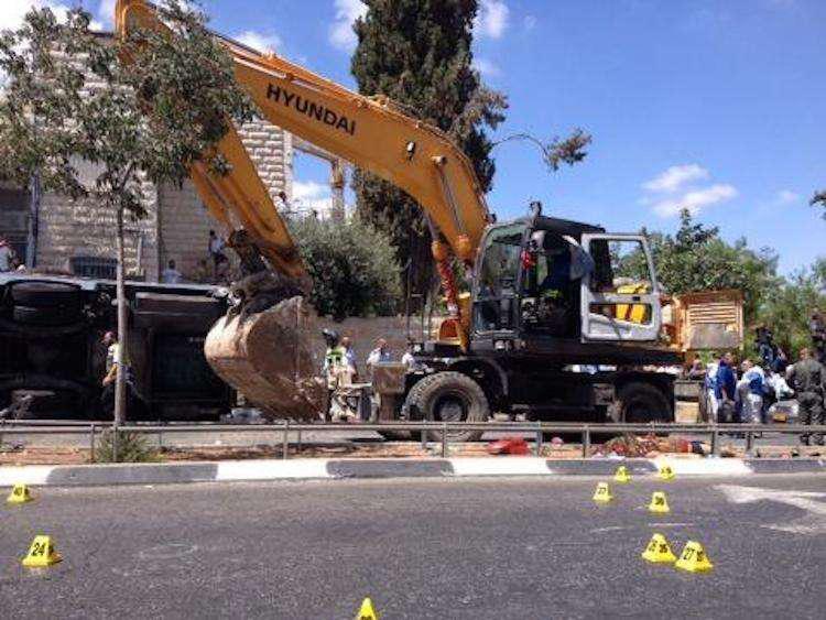 Excavator Used To Kill Pedestrian Flip Bus In Terrorist Rampage