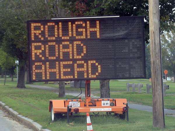 Rough Road Ahead roadwork sign